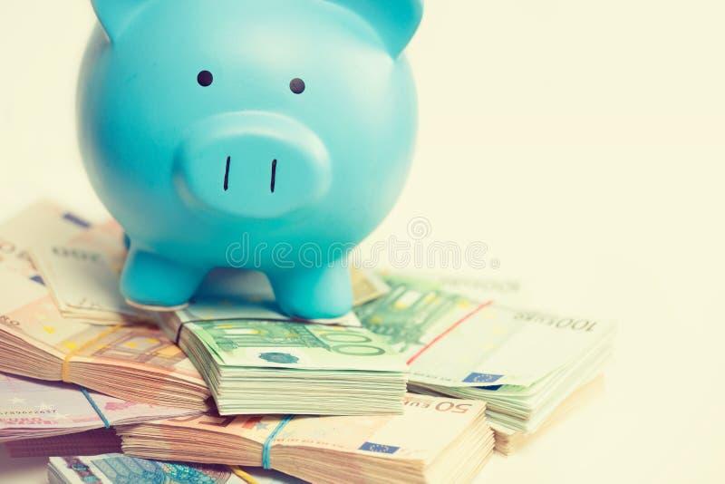 Prosiątko bank z stertą euro banknotów rachunki Pieniężny sukcesu pomysłu pojęcie zdjęcia royalty free