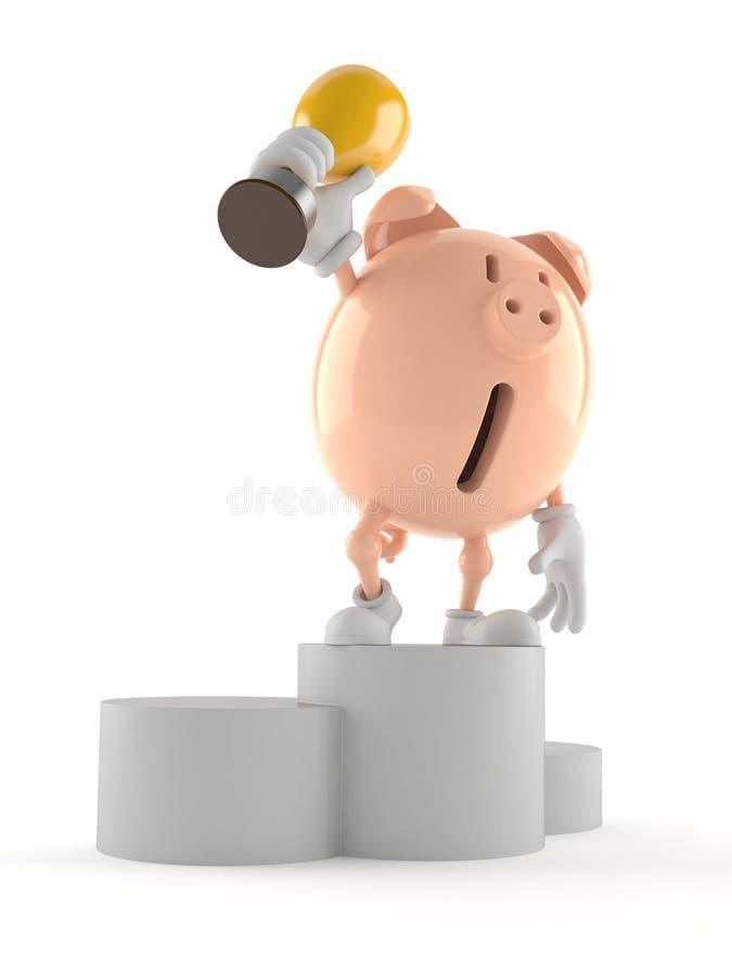 Prosiątko banka charakter na podium mienia trofeum ilustracja wektor