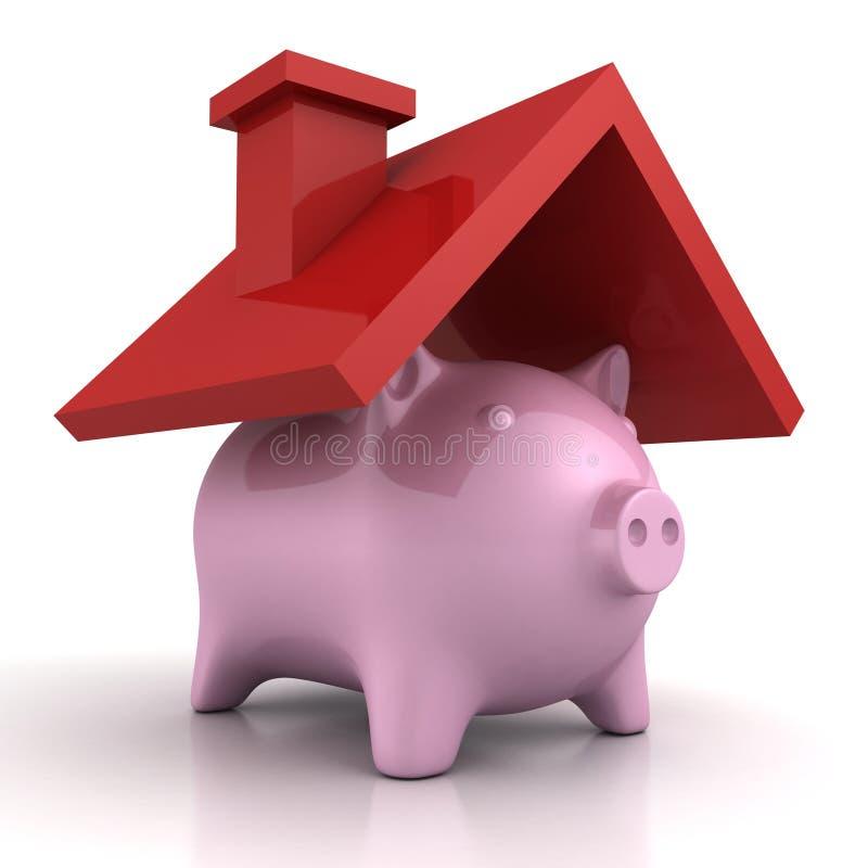 Prosiątko banka domu oszczędzanie pod pokrywa dachem ilustracja wektor