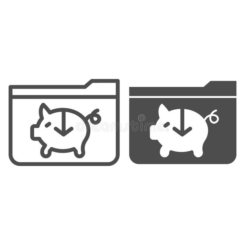 Prosiątko banka falcówki linia i glif ikona Bankowości skoroszytowa wektorowa ilustracja odizolowywająca na bielu Komputerowy sko ilustracja wektor