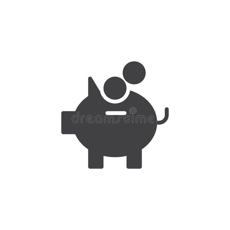 Prosiątko banka i moneta pieniądze wektoru ikona ilustracja wektor