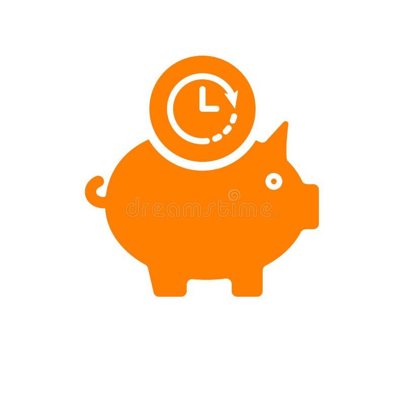 Prosiątko banka ikona, biznesowa ikona z zegaru znakiem Prosiątko banka ikona i odliczanie, ostateczny termin, rozkład, planistyc royalty ilustracja