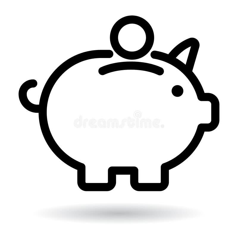 Prosiątko banka ikony czerń ilustracji