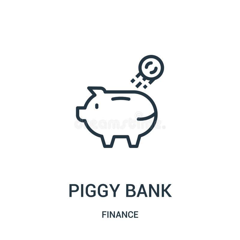 prosiątko banka ikony wektor od finansowej kolekcji Cienka kreskowa prosiątko banka konturu ikony wektoru ilustracja Liniowy symb ilustracja wektor
