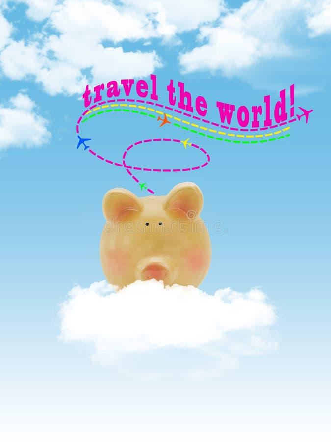 Prosiątko banka latanie na chmurze z niebieskim niebem zdjęcia stock