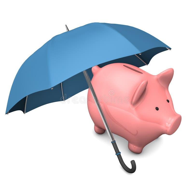 Prosiątko banka parasol royalty ilustracja