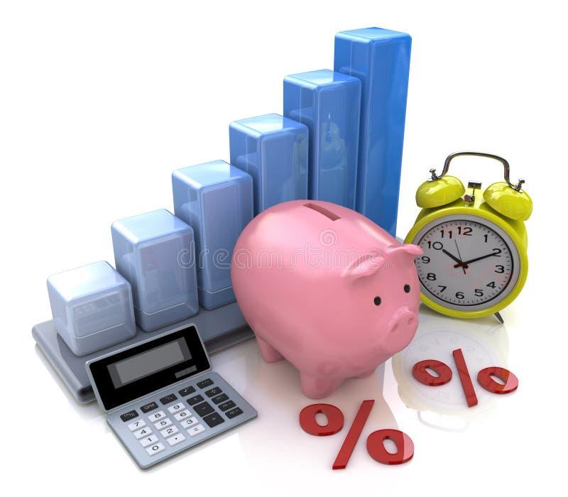 Prosiątko banka pojęcie Obliczenie interes na depozytach ilustracja wektor
