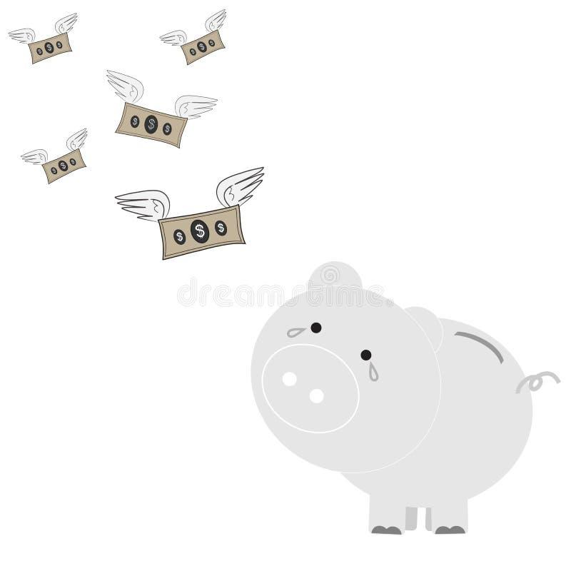 Prosiątko banka przedstawienia pożałowanie Czuje Widzieć dolary Latać Daleko od royalty ilustracja