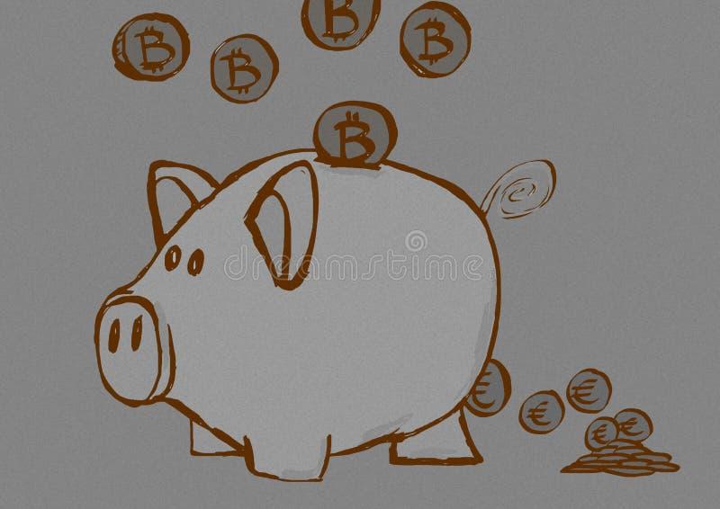 Prosiątko banka rocznik ilustracja wektor