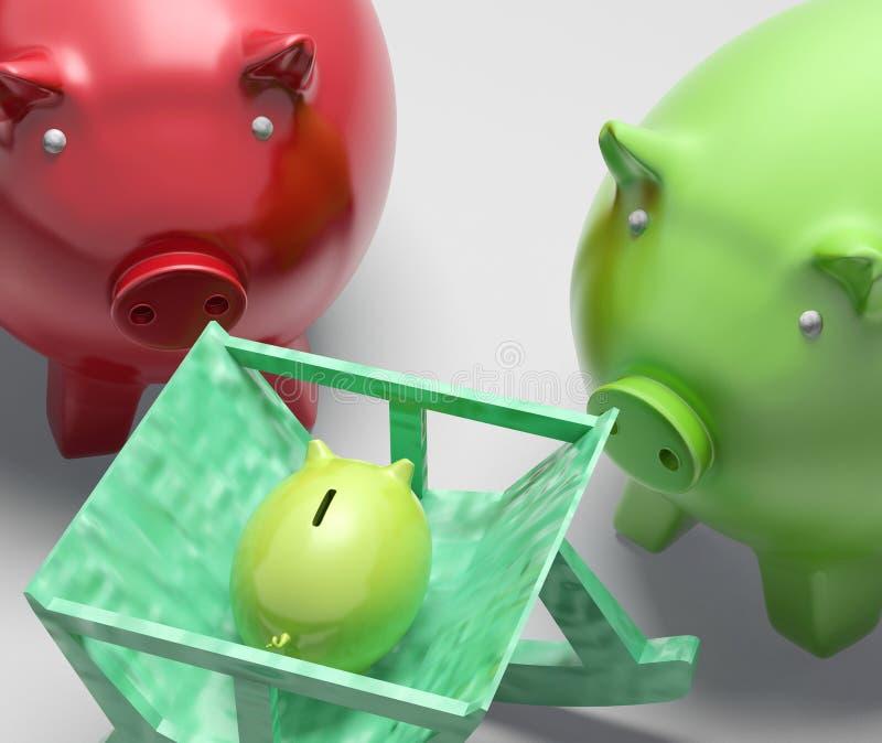 Prosiątko banka rodzina Pokazuje planowanie I ochronę ilustracja wektor