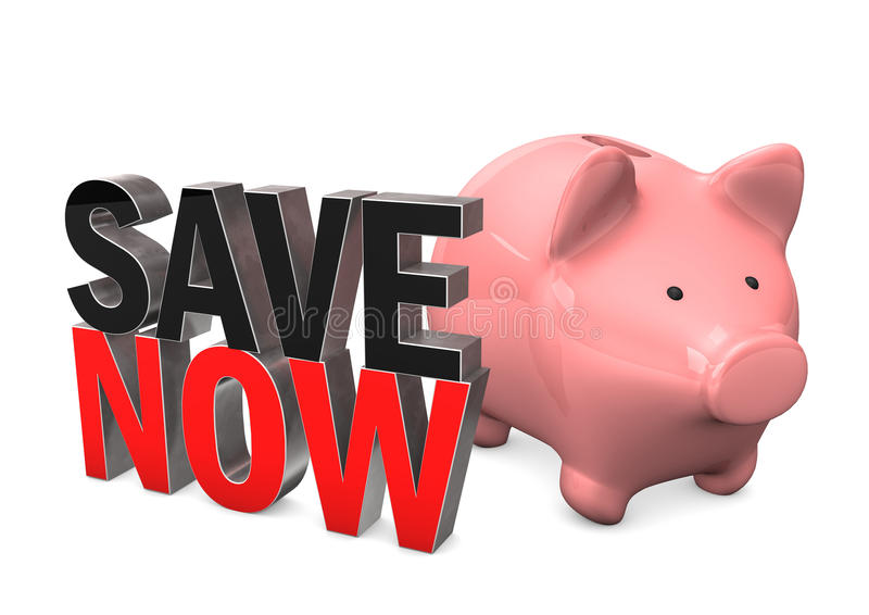 Prosiątko banka Save Teraz royalty ilustracja