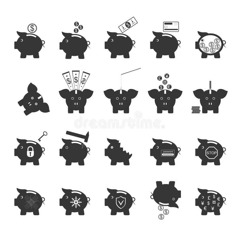 Prosiątko banka symbol pieniądze finanse Inwestorskie Czarne ikony Ustawiać wektor ilustracja wektor