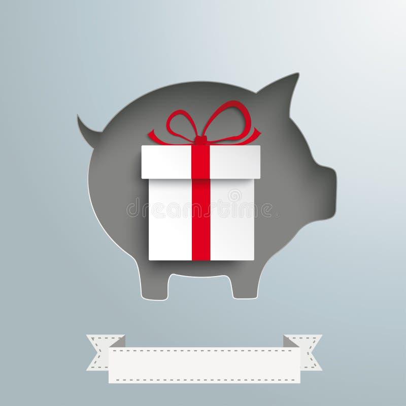 Prosiątko banka torba na zakupy srebra tła prezent ilustracja wektor