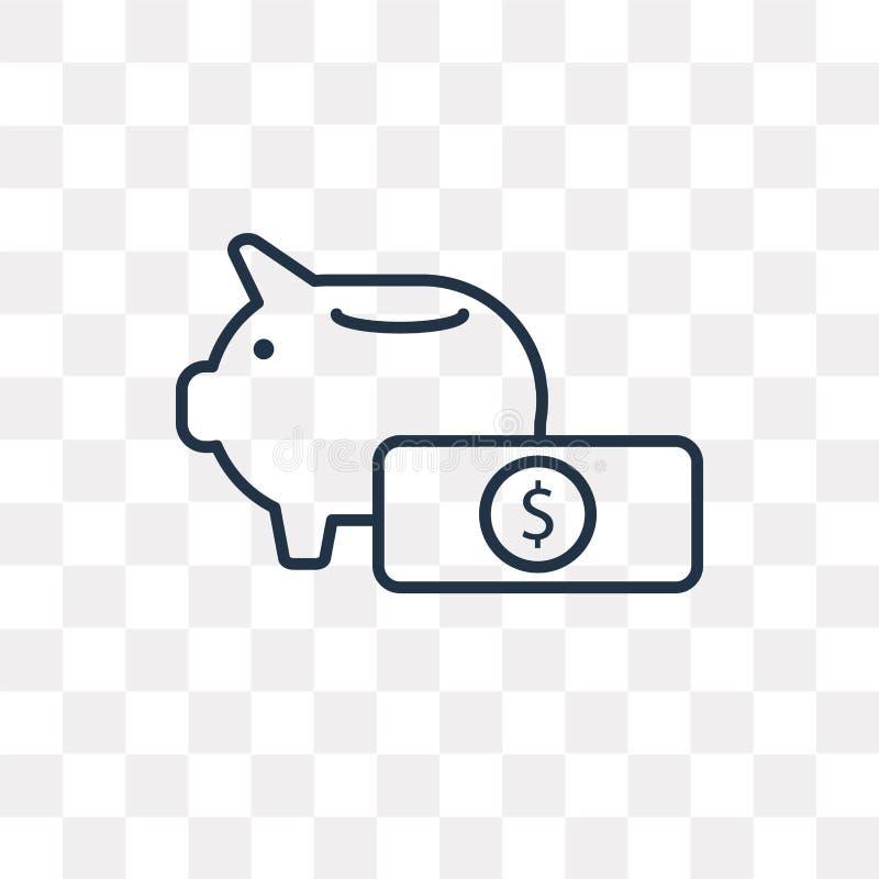 Prosiątko banka wektorowa ikona odizolowywająca na przejrzystym tle, linea royalty ilustracja