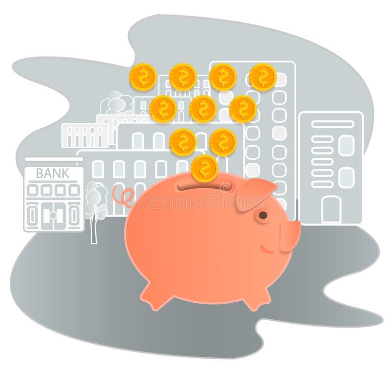 Prosiątko banka wektoru ilustracja Ikony oszczędzanie lub akumulacja pieniądze Ikony prosiątka bank w płaskim stylu, odosobnionym ilustracja wektor