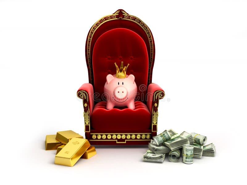 Prosiątko banka whith korona siedzi na tronie royalty ilustracja