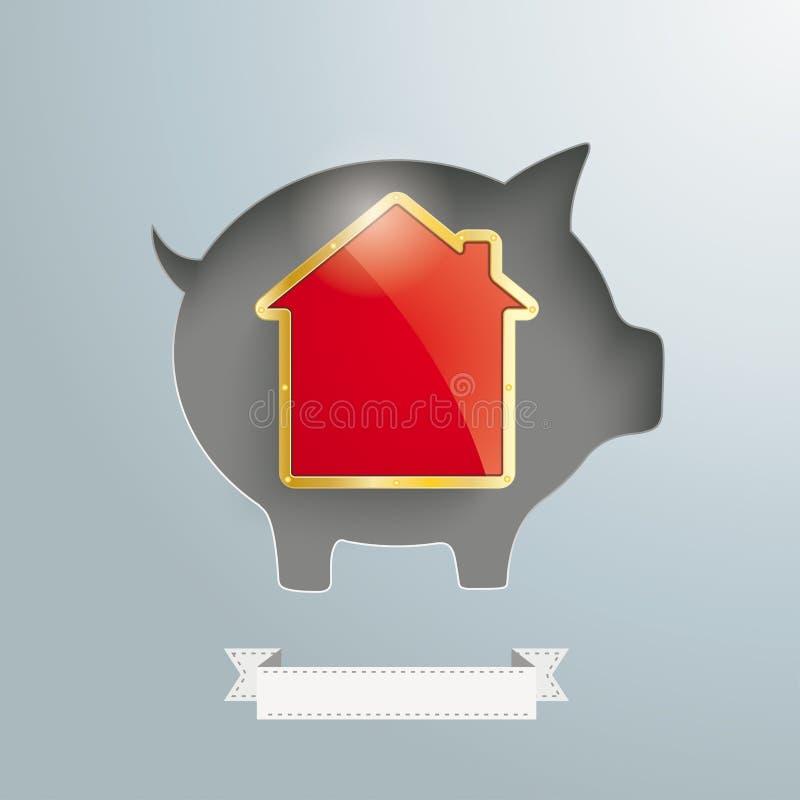 Prosiątko banka Złoty Domowy faborek royalty ilustracja