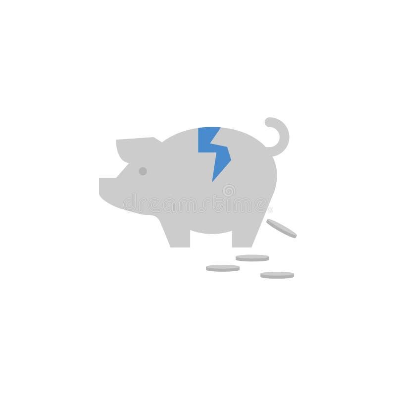 Prosiątko deponuje pieniądze, łama, pieniądze, monety, savings dwa barwi błękitną i szarą ikonę ilustracji