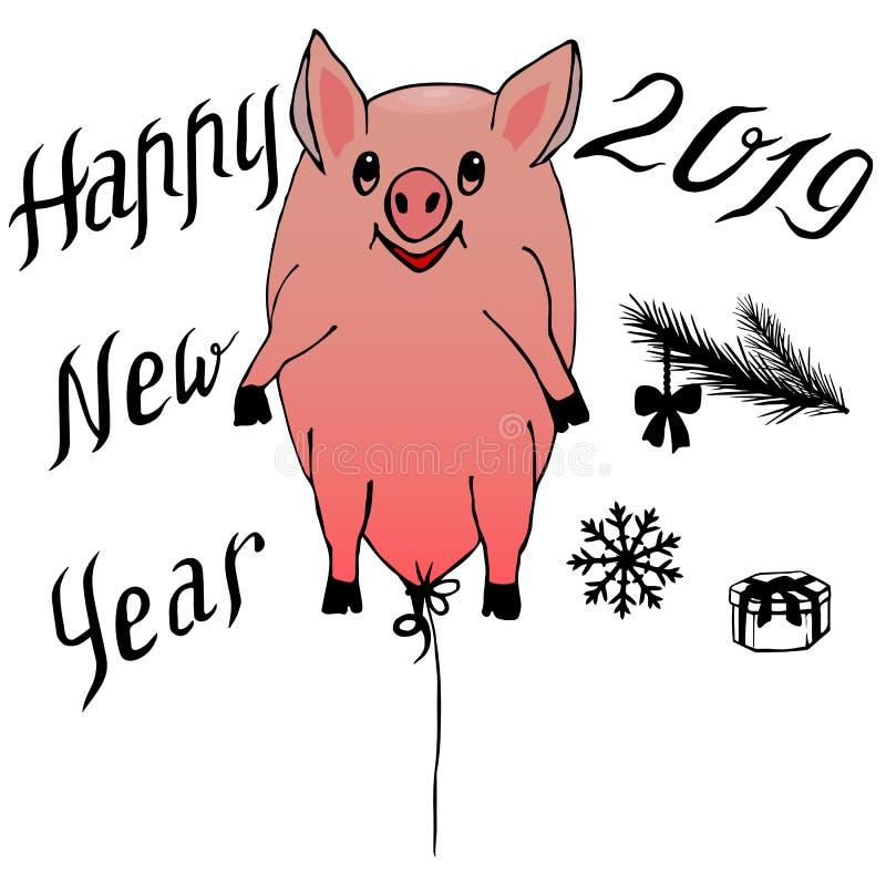 Prosiątko - latać balon i 2019 uroczystych literowań z elementami dla projekta karty nowego roku i zimy, zaproszenia, ilustracji