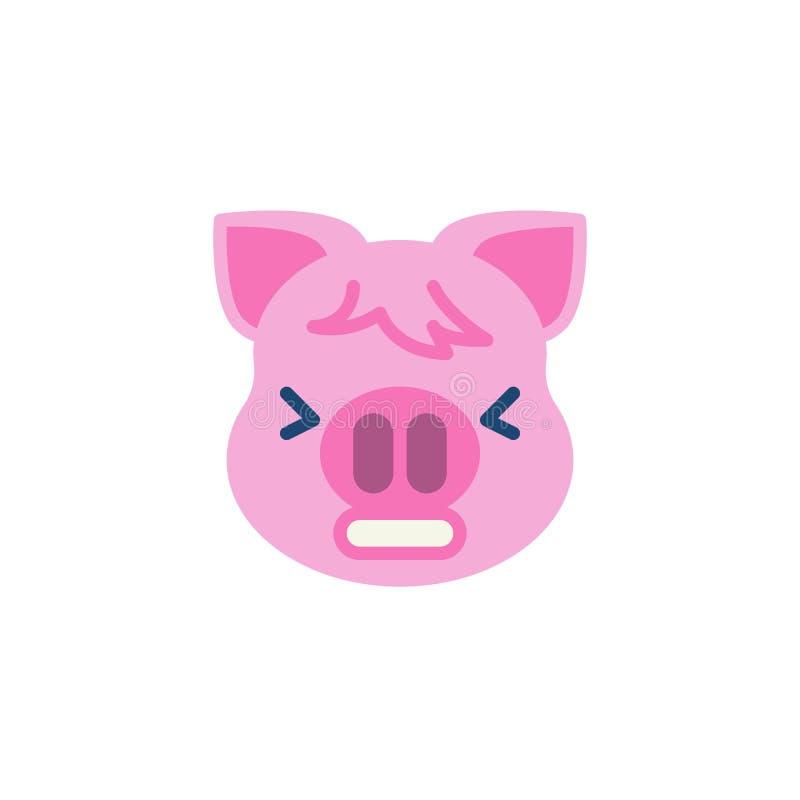 Prosiątko Męcząca twarzy emoji mieszkania ikona royalty ilustracja