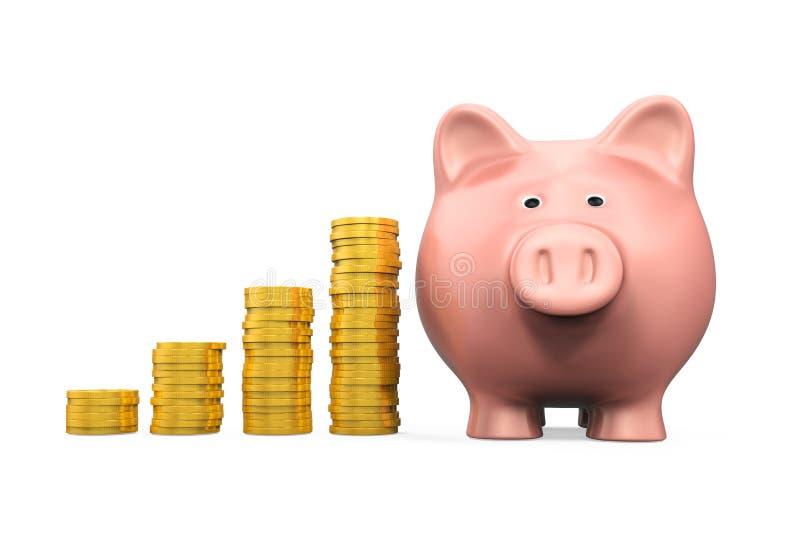 Prosiątko pieniądze i banka moneta ilustracji