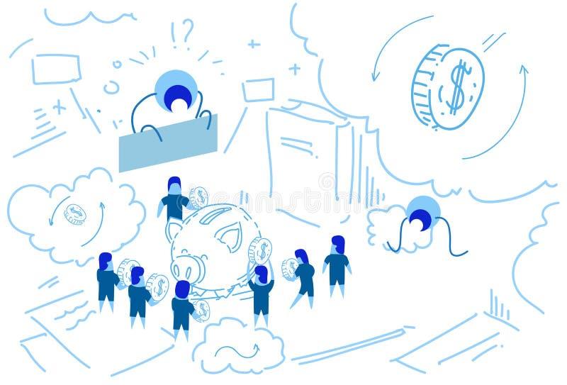 Prosiątko pudełkowaty biznesmen stawia dolara pieniądze przyrosta bogactwa pojęcia strategii brainstorming pracy zespołowej grupo royalty ilustracja