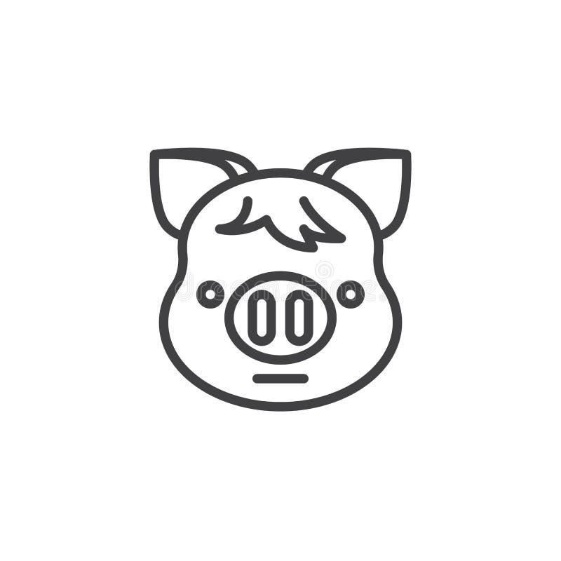 Prosiątko twarzy emoji linii Neutralna ikona ilustracja wektor