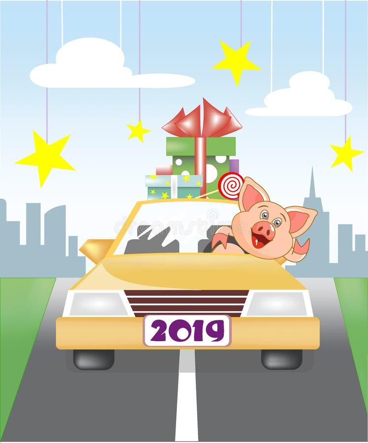 Prosiaczek jedzący samochodem od miasta ilustracja wektor