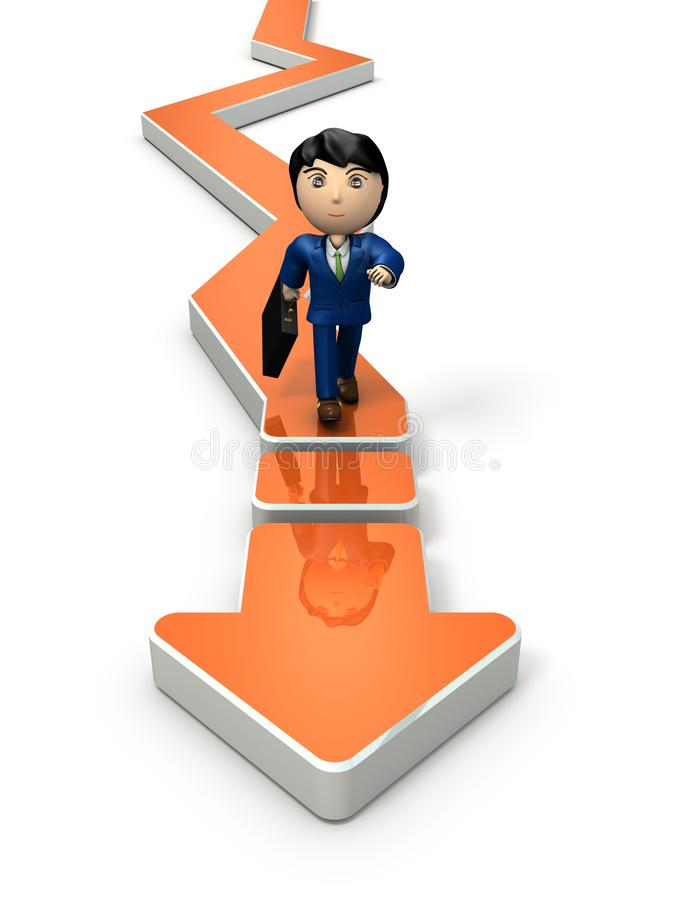 The prospect of the future that is twists and turns. But businessmen move forward and pioneer the future. 3D illustration. Arrow that turns twists and turns vector illustration