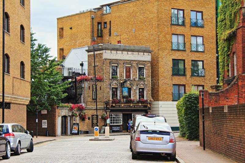 Prospect of Whitby old English pub street view London royalty free stock photo