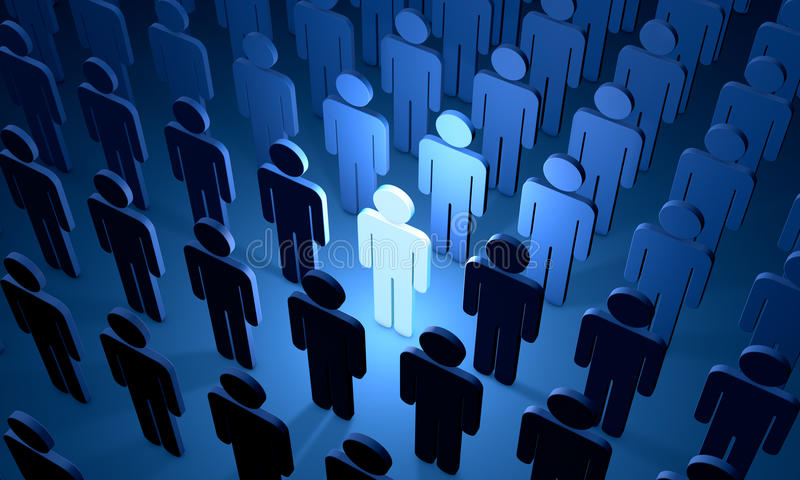 The prospective employee (symbolic figures of people). Standing Out from the Crowd. Available in high-resolution and several sizes to fit the needs of your vector illustration