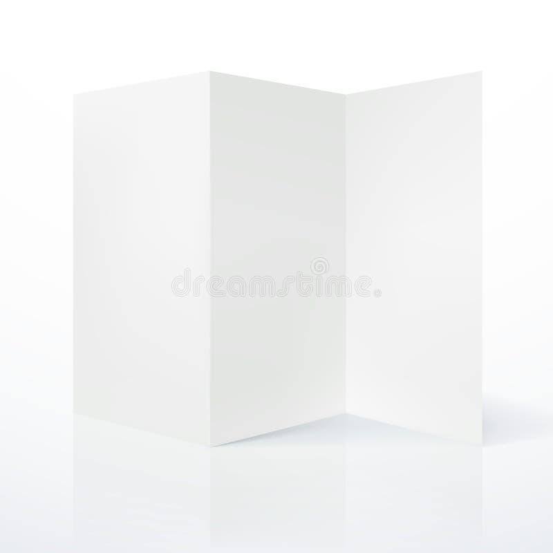 Prospecto de papel doblado blanco en blanco stock de ilustración