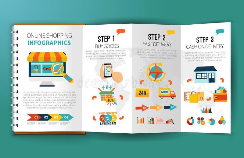 Prospecto en línea de Infographics que hace compras stock de ilustración