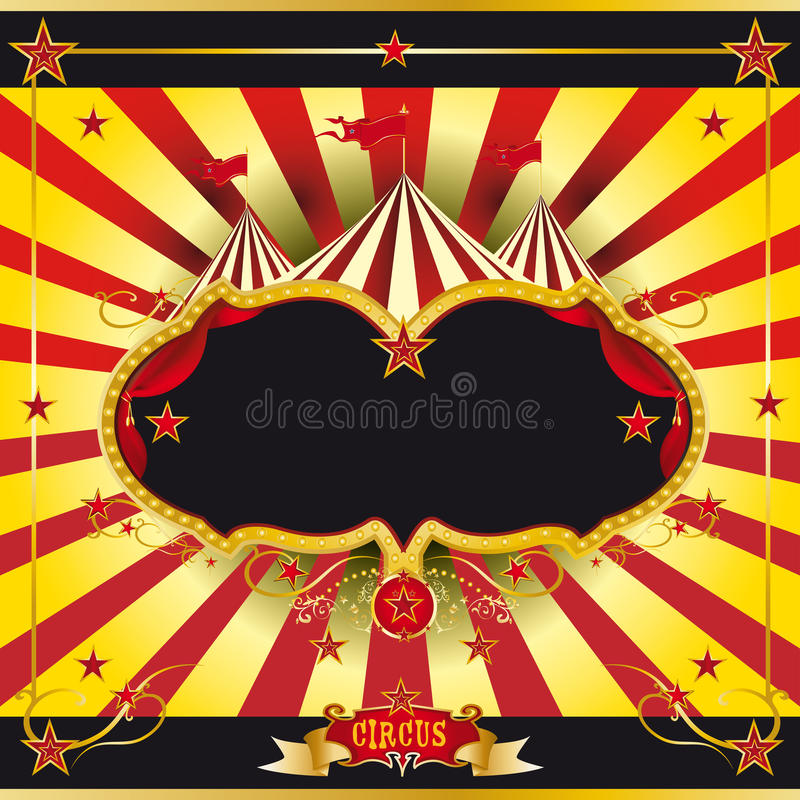 Prospecto rojo y amarillo del circo ilustración del vector