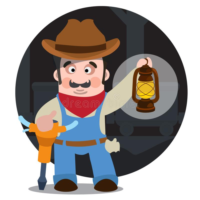 Prospector, cowboy, wild west illustration. Cartoon character of a man with a jackhammer and a lamp stock illustration