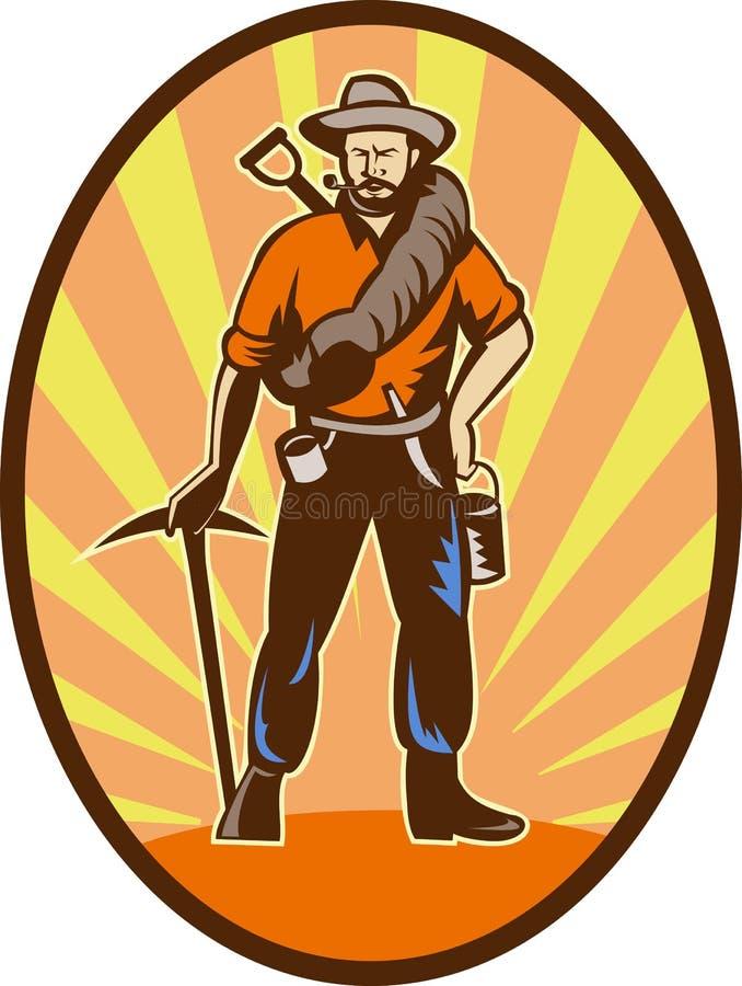 Prospector do mineiro ou escavador de ouro ilustração stock