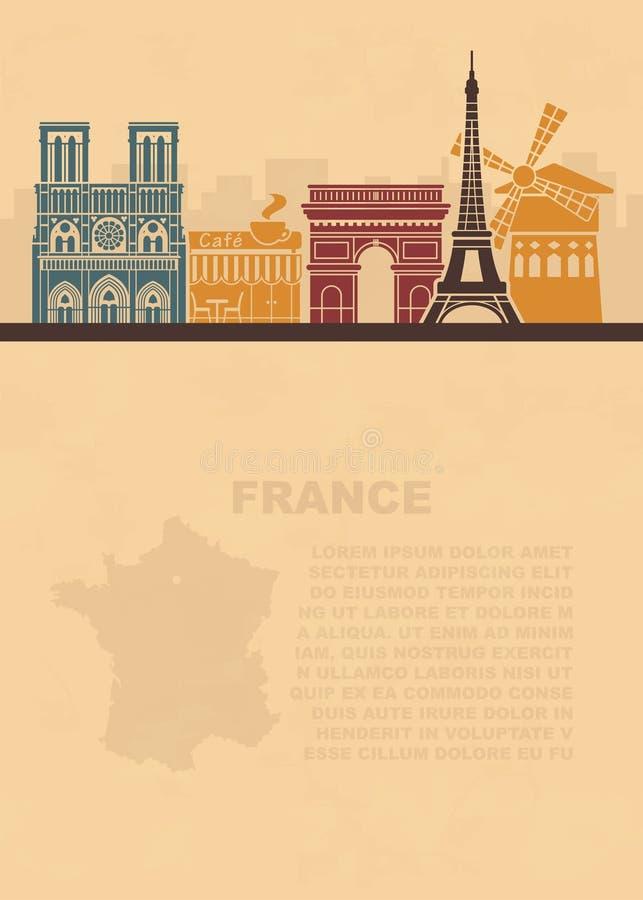 Prospectos de la plantilla con un mapa de Francia y las señales arquitectónicas de París en el papel viejo ilustración del vector