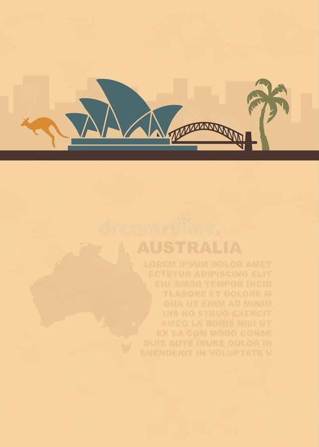 Prospectos de la plantilla con un mapa y los símbolos de la Australia y del lugar para el texto en el papel viejo libre illustration