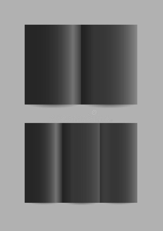 Prospectos de papel negros doblados simples del vector ilustración del vector