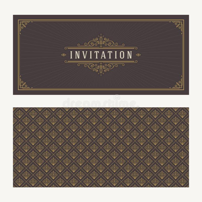 Prospera y diseño ornamental del vintage del vector para la tarjeta de la invitación o de felicitación stock de ilustración