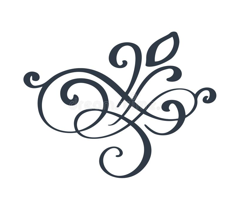 Prospere la decoración adornada del remolino para el estilo acentuado de la caligrafía de la tinta de la pluma Flourishes de la p stock de ilustración