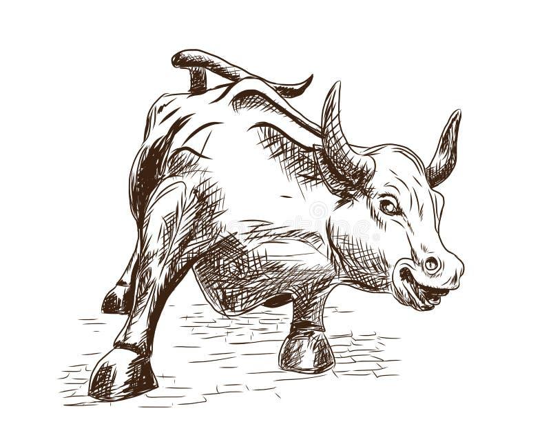 Prosperidad 7 de septiembre de 2016 en New York City El bosquejo dibujado mano de la señal que carga Bull en Lower Manhattan repr stock de ilustración