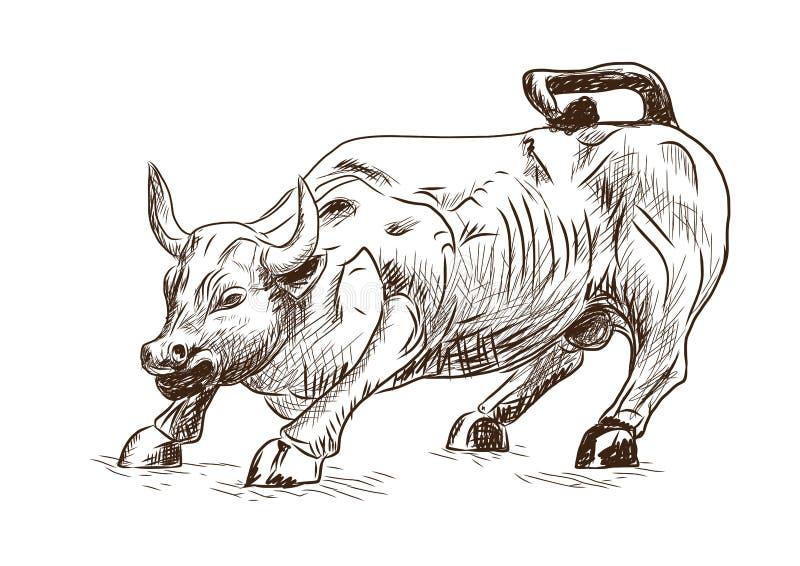 Prosperidade 7 de setembro de 2016 em New York City O esboço tirado mão do marco que carrega Bull no Lower Manhattan representa o ilustração stock