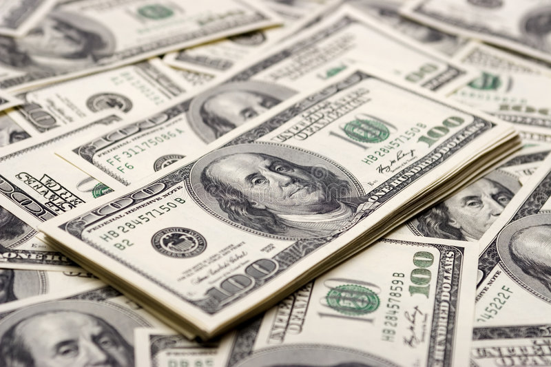 Prosperity concepts - hundred dollars stock images