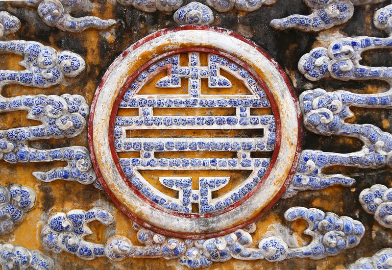 Prosperity Sign In Porcelain Hue Vietnam Stock Image Image Of