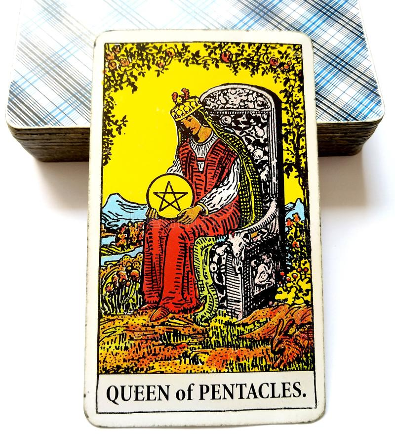 Queen of Pentacles Tarot Card Prosperity Wealth Rich Luxury Fine Living Status Prestige Material Security Economic. Prosperity Success Wealth Rich Luxury Fine royalty free stock photo