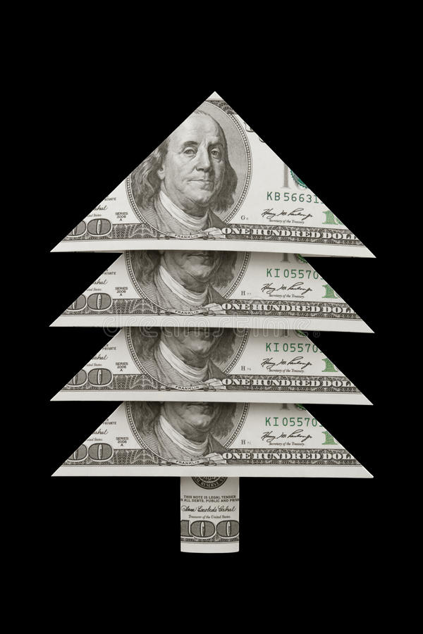 Prosperity and well-being...Christmas fur-tree dollar. royalty free stock photo