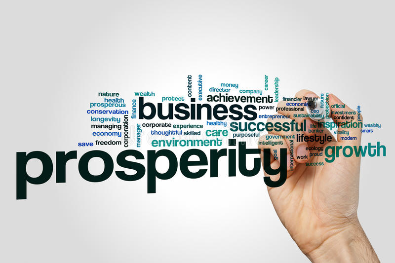 Prosperity word cloud concept royalty free stock images