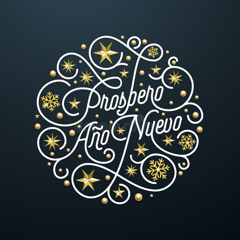 Prospero Ano Nuevo Spanish Happy New Year Navidad calligraphy lettering, golden snowflake star pattern decoration on white backgro. Und for greeting card. Vector royalty free illustration