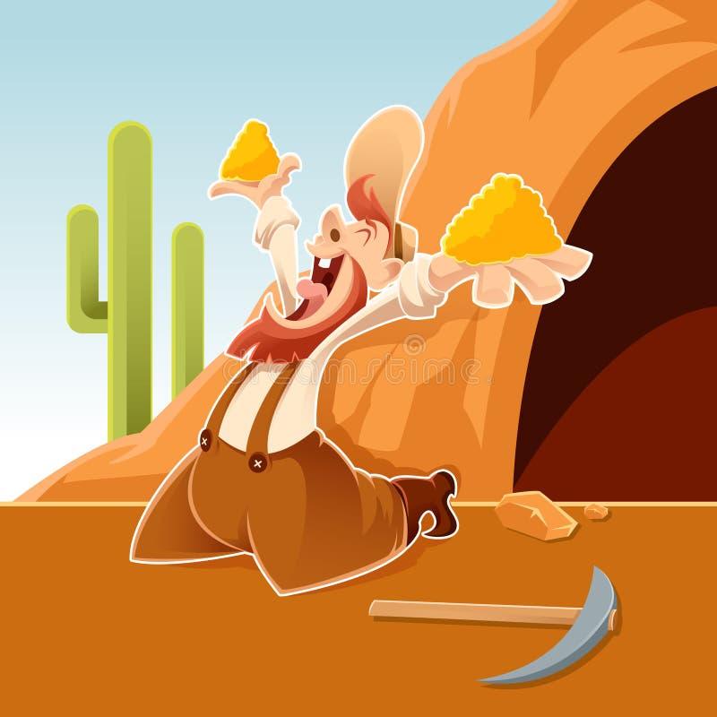 Prospetor feliz dos desenhos animados ilustração royalty free